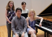 Jennifer Campbell, Allen Yueh, Suejin Jung, Leann Osterkamp, Alumni of the NYIPC and Collaborative Pianists for the Concerto Round