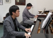 Junhui Chen and Allen Yueh during concerto rehearsal