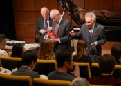 Melvin Stecher, Mark Horowitz, Norman Horowitz distribute Steinway Competition Bags