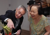 Norman Horowitz, Maya Masumoto fetching tomatoes