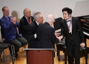 Norman Horowitz Melvin Stecher present Third Prize to Jiacheng Xiong