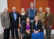 047 Stecher and Horowitz with members of the Jury_Seated Esther Park and Janet Lopinski, Standing Melvin Stecher, John O'Conor, Lydia Artymiw, Ian Hobson, Tong-Il Han and Norman Horowitz