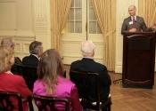 Evan Steen (S&H Foundation Board Member, 65-74) addressing Alumni audience