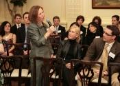 Linda Raff Strickler (60-67) speaking to Alumni