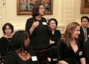 Elizabeth Palladino Stelle (66-75) speaking to Alumni