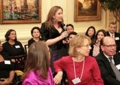 Eva Kiviat (87-98) speaking to Alumni